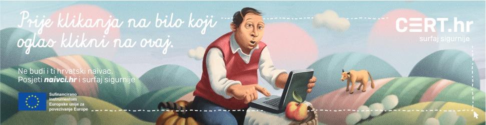 """Službena stranica kampanje """"Veliki hrvatski naivci"""" - naivci.hr - Slikovni element na podnožju stranice koji prikazuje korisnika koji pretražuje internet"""